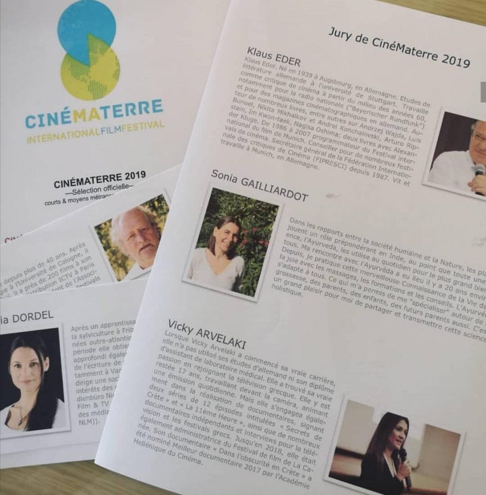 Jury at the CinemaTerre International Film Festival (November 2019) that is screening films on ecological issues in Paris. Vicky Arvelaki